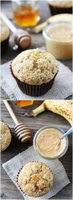 Peanut Butter, Banana, and Honey Muffins Recipe on twopeasandtheirpod.com We love these simple and healthy muffins! Great for breakfast or snack time and they freeze well too!