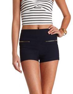 front zipper high-waisted shorts