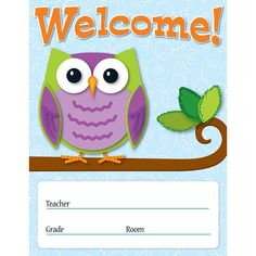 Create a welcoming and appealing atmosphere for your classroom with this whimsical Colorful Owls Welcome Chartlet. There is room for personalization and is perfect for conferences, open houses, first