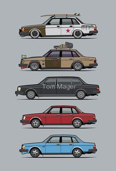 """""""Stack of Volvo 240 Series 244 Sedans"""" by Tom Mayer 