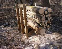 cutting logs for firewood