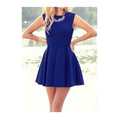 Sleeveless Solid Blue Pleated A Line Dress ($19) ❤ liked on Polyvore featuring dresses, blue, pleated a line dress, blue sleeveless dress, a line dress, sleeve dress and blue mini dress