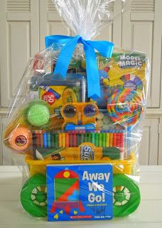 An auction basket and gift idea for schools and kids who love to get creative.  A beach wagon filled with colorful arts and crafts.