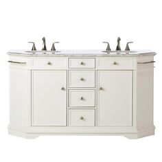 Home Decorators Collection Belvedere 61 in. W x 22 in. D x 34 in. H Vanity in White with Granite Vanity Top in Grey with White Basin