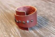 Tarnished Silver and Bronze Leather Cuff Bracelet with Studs - 9 inches long - Fits 7 to 7.5 inch Wrist - Unique Shape by The Repurposed Artist