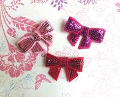 Sequin Bow Appliques - 3 pcs Sample Pack - Pink, Red and Hot Pink - DIY Headband/Hair Bow/Hair Clip Supplies