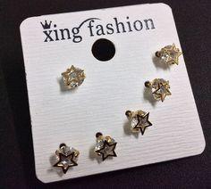 Fashion Women Star Silver Crystal Jewelry Set Alloy Stud Earring Set #Handmade