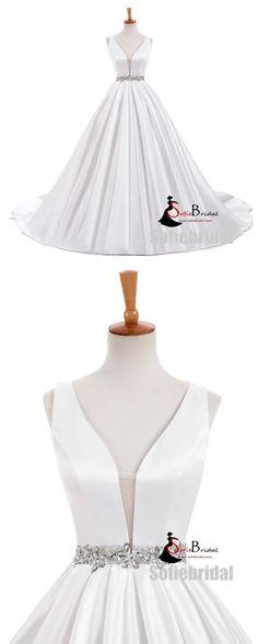 V-neck Elegant Simple Design White Satin A-line Beaded Belt Wedding Dresses, WD0240 #Sofiebridal #weddingdresses #satin #wedding
