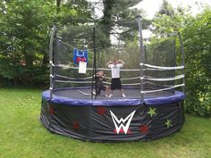 DIY Wrestling Ring made out of a trampoline Wrestling Birthday Parties, Wrestling Party, Wwe Birthday, Superman Birthday Party, Sports Birthday, 6th Birthday Parties, Wwe Wrestling Ring, Birthday Ideas, Swim Party Cupcakes