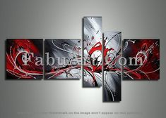 Abstract  Art Painting Painting - Large Red Abstract Painting 414 - 66 X 36in by FabuArt