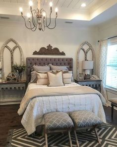 Rustic Farmhouse Bedroom Decorating Ideas To Transform: Farmhouse Bedroom Decor Ideas Are Very Warmly. Country Rustic Farmhouse Bedroom Decorating Ideas To Transform: Farmhouse Bedroom Decor Ideas Are Very Warmly. Modern Bedroom Decor, Farmhouse Master Bedroom, Master Bedroom Design, Home Bedroom, Girls Bedroom, Bedroom Designs, Bedroom Layouts, Bedroom Wall, Queen Bedroom