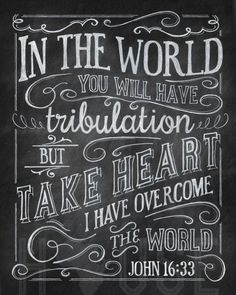 John 16:33 In the world you will have tribulation but take heart I have overcome the world. |