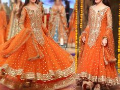 Designer Embroidered Chiffon Orange Maxi Dress For more details and real pictures visit: PakStyle. Pakistani Maxi Dresses, Pakistani Outfits, Desi Wedding Dresses, Fashion Corner, Chiffon Maxi Dress, Dress Brands, Dress Collection, Squad, Fancy