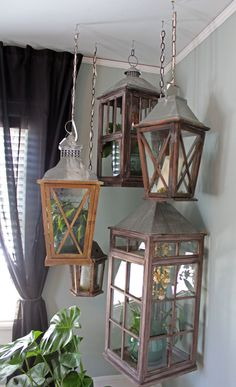 2015 Spring Bachmans Ideas House- Itsy Bits And Pieces. Hang lanterns in an empty corner.