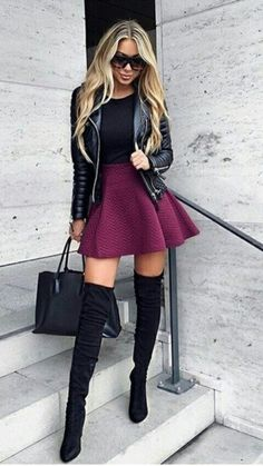 Love the skirt/boot combo