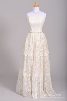 1950 Multi Tiered Lace Vintage Wedding Gown : Mill Crest Vintage