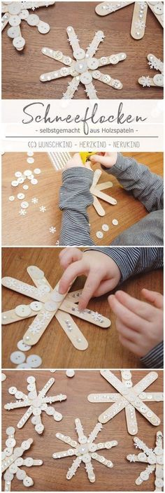 Tinker at Christmas time. It just belongs together and these beautiful snowflakes made of wooden spatulas are a fast and great crafting idea for in between. – crafts with children – Christmas time – Advent – Winter – – crafts. Christmas Activities, Christmas Crafts For Kids, Diy Christmas Ornaments, Winter Christmas, Kids Christmas, Holiday Crafts, Winter Diy, Christmas Clay, Christmas Snowflakes