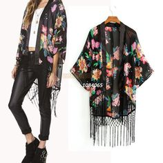 Buy casual brasão chiffon top kimono estilo retro vintage hot boho hippie jacket cape blazer from dresslink,enjoy discount shopping and fast delivery now. Gilet Kimono, Women's Kimono Cardigan, Kimono Coat, Blouse Dress, Cardigan Chiffon, Chiffon Kimono, Floral Chiffon, Chiffon Tops, Chiffon Shirt