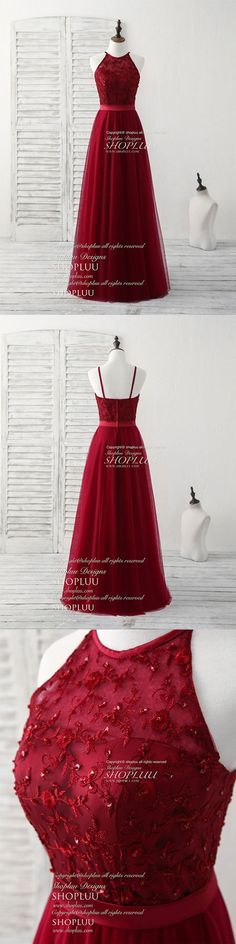 Burgundy tulle lace long prom dress, burgundy bridesmaid dress