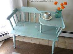 """Paying homage to """"the telephone table"""". I don't care how useless it is; Upcycled Home Decor, Upcycled Furniture, Painted Furniture, Diy Furniture, Vintage Furniture, Repurposed, Telephone Table, Telephone Seat, Vintage Telephone"""