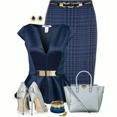 Fashion Style Combination - Houndstooth Blue Pencil Skirt, lovely silk style v-neck blouse, grey pumps and handbag, with blue accessories.