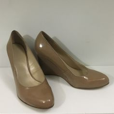 """Nine West Light Brown Patent Leather Wedges These Nine West light brown patent leather wedges have only been worn a handful of times, if that.  They have a glossy finish and a slightly pointed toe.  Heel is approximately 3.5"""" high. Nine West Shoes Heels"""