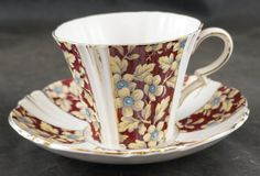 ROYAL ALBERT Fine Bone China Cup and Saucer Royal Brocade Early Back Stamp by…