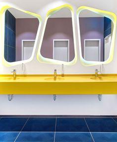 Risultati immagini per baiyoke hotel karim rashid Interior Desing, Bathroom Interior Design, Interior Architecture, Bathroom Toilets, Bathroom Kids, Funky Mirrors, Washroom Design, Kids Toilet, Kindergarten Design