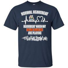 Miami Marlins T shirts Heartbeat When My Miami Marlins Playing Hoodies Sweatshirts