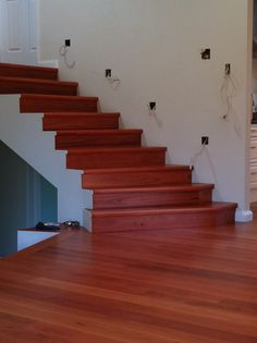 Grey Gum timber flooring complimented with solid treads and risers in the same species