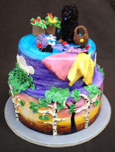 """Birthday Cake for an Artist and Discount Shopper,  with """"Blu"""", her favorite Chow Dog."""