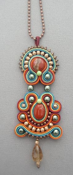 Burgundy, Orange, Green, and Turquoise Soutache Pendant Jodi Horgan Beads Jewelry, Handmade Beaded Jewelry, Jewelry Crafts, Jewelry Art, Jewelry Design, Soutache Pendant, Soutache Necklace, Soutache Tutorial, Maxi Collar