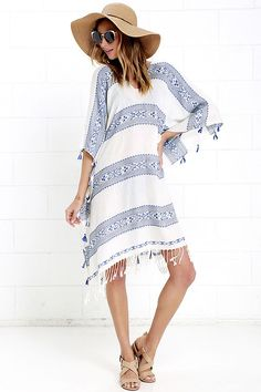 Blue and Ivory Kaftan - Swim Cover-Up - Striped Kaftan - $68.00 | Find Out More & Where To Buy By Clicking Picture | affiliate link | TheProductPromoter.com