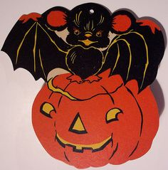 .Halloween pumpkin and bat
