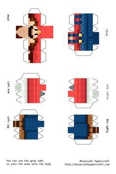 Papercraft Mario Minecraft Blocks, Minecraft Crafts, Minecraft Party, Minecraft Skins, Minecraft Houses, Mario Kart, Mario Bros, Papercraft Minecraft Skin, Paper Toys