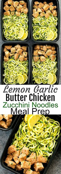 Eating Meals Low Carb Lemon Garlic Butter Chicken with Zucchini Noodles Meal Prep. This is an easy and flavorful meal prep that is also low carb and keto-friendly. Chicken and zucchini are coated in an easy lemon garlic butter sauce. Veggie Meal Prep, Chicken Meal Prep, Meal Prep Bowls, Healthy Meal Prep, Chicken Recipes, Meal Prep Keto, Diet Prep Meals, Food Meal Prep, Healthy Meals With Chicken