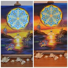 The same painting with light from different angles  .. Do you also notice a difference? Nice to have 2 views of the same sunset  #protectionsymbol #evileye #hamsahandevileye #hamsapainting #dreamcatcher #dreamcatchers #dreamcatcherforsale #dreamcatcherpainting #seascape #sacredart #sacredgeometry #sacredgeometryart