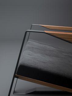 metal + ultra-suede + wood + angled