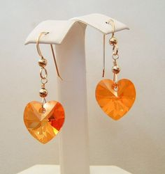 Astral Pinkish Orange Crystal Heart Earrings 14K Gold by dkdangles
