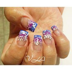 Nails #vla #nails #nailart #nailaddiction #nailsaddict #pink #blue #fade #freehand #design #beauty #work #cosmolife #nailporn #colors #french #naildesign #designporn #brights #right #Padgram