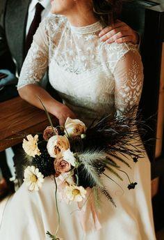 Tomgirl Chic Wedding Inspiration // victorian beaded high neck wedding dress
