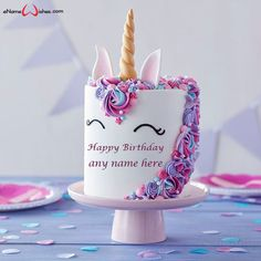 Write name on Unicorn Birthday Cake with Name Edit with Name And Wishes Images and create free Online And Wishes Images with name online.