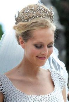 Princess Matilde von Furstenberg-Borromeo in her diamond wedding tiara - modern