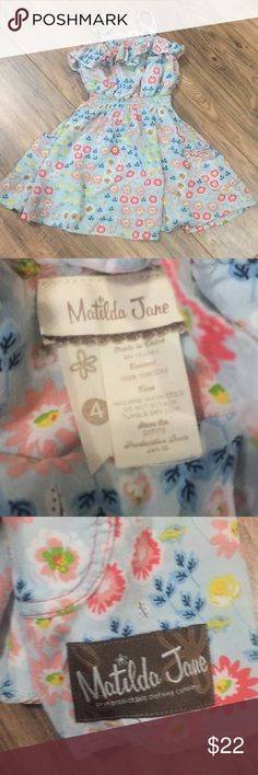 """EUC Matilda Jane summer dress Sz 4 EUC Matilda Jane summer dress Sz 4 no rips stains or defects. The ruffle needs some ironing to lay flat but other than that nothing wrong also the straps are adjustable so they can be let out about a 1/2"""". Check out my closet for other items and bundle for extra savings!! Matilda Jane Dresses Casual"""