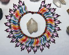 Large Okama Handmade Indigenous Rainbow Beaded Necklace   Etsy Diy Crafts Jewelry, Beaded Collar, Handmade Bracelets, Beautiful Necklaces, Hippie Boho, Necklace Lengths, Crochet Earrings, Rainbow, Etsy