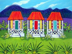 Ladies of Color Colorful Tropical Houses Caribbean by korpita