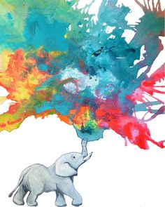 Baby ELEPHANT spraying water | Rainbow Colors 8 x by RuthOosterman, $20.00