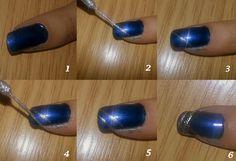 shiny blue nails