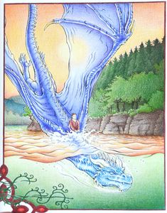 Saphira and Eragon at Leona Lake, color by Christopher Paolini.