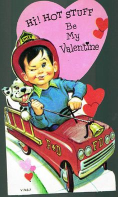 Vintage 1940s Valentine Card Little Boy Firetruck Hot Stuff - $10.50 : Vintage Collectibles Sewing Patterns Postcards Aprons Ephemera